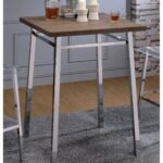 New ACME Nadie Dining Table with Wooden Tabletop and Chrome Legs, for Restaurant, Cafe, Tavern, Living Room – Oak