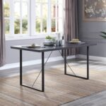 New ACME Nakula 65″ Rectangle Dining Table with Wooden Tabletop and Metal Legs, for Restaurant, Cafe, Tavern, Living Room – Gray