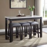 New ACME Necalli 4 Piece Dining Set, Including 1 Counter Height Table, and 3 Padded Stools, for Small Apartment, Studio, Kitchen – Marble + Espresso
