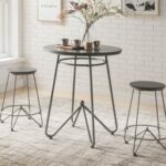 New ACME Nimai 3 Piece Dining Set, Including 1 Counter Height Round Table, and 2 Stools, for Small Apartment, Studio, Kitchen – Gray