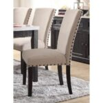 New ACME Nolan Linen Upholstered Dining Chair Set of 2, with Curved Backrest, and Wood Legs, for Restaurant, Cafe, Tavern, Office, Living Room – Oak