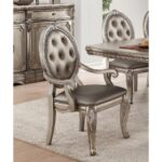 New ACME Northville PU Upholstered Dining Chair Set of 2, with Button Tufted Backrest, and Wood Legs, for Restaurant, Cafe, Tavern, Office, Living Room – Silver