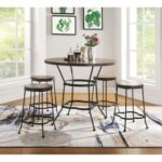 New ACME Qamar 5 Piece Dining Set, Including 1 Counter Height Round Table, and 4 Stools, for Small Apartment, Studio, Kitchen – Walnut