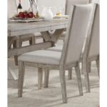 New ACME Rocky Fabric Upholstered Dining Chair Set of 2, with High Backrest, and Wood Legs, for Restaurant, Cafe, Tavern, Office, Living Room – Gray