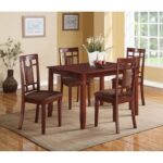 New ACME Sonata 5 Piece Dining Set, Including 1 Table, and 4 Chairs, for Small Apartment, Studio, Kitchen – Cherry