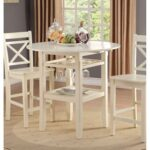New ACME Tartys Counter Height Dining Table with Wooden Tabletop and Storage Shelves, for Restaurant, Cafe, Tavern, Living Room – Cream