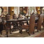 New ACME Versailles Dining Table with Marble Tabletop and Wooden Base, for Restaurant, Cafe, Tavern, Living Room – Cherry