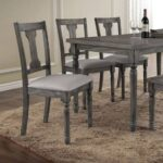 New ACME Wallace Linen Upholstered Dining Chair Set of 2, with High Backrest, and Wood Legs, for Restaurant, Cafe, Tavern, Office, Living Room – Gray