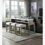 New ACME Wandella 4 Piece Counter Height Table Set with 3 Stools for Kitchen, Living Room, Bar, Restaurant – Oak