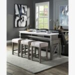 New ACME Wandella 4 Piece Counter Height Table Set with 3 Stools for Kitchen, Living Room, Bar, Restaurant – Gray