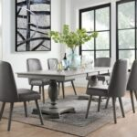 New ACME Waylon Dining Table with Wooden Tabletop and Wooden Turned Pedestal Base, for Restaurant, Cafe, Tavern, Living Room – Gray