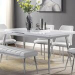 New ACME Weizor Rectangle Dining Table with High Gloss Tabletop and Chrome Legs, for Restaurant, Cafe, Tavern, Living Room – White