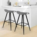 New Plastic Bar Stool Set of 2, with Non-slip Feet and Metal Frame, for Restaurant, Cafe, Tavern, Office, Living Room – Gray
