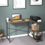 New Home Office L-Shaped Computer Desk with 3-Layer Storage Shelf, Wooden Tabletop and Metal Frame, for Game Room, Office, Study Room – Brown