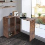 New Home Office Reversible L-Shaped Computer Desk with Storage Shelves and Wooden Frame, for Game Room, Office, Study Room – Brown
