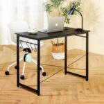 New Home Office 40″ Computer Desk with Wooden Tabletop and Metal Frame, for Game Room, Office, Study Room – Black