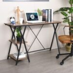 New Home Office 47.2″L Computer Desk with 2-Layer Storage Shelf, Wooden Tabletop and Metal Frame, for Game Room, Office, Study Room – Brown
