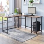 New Home Office L-Shaped Computer Desk with Wooden Tabletop and Metal Frame, for Game Room, Office, Study Room – Brown