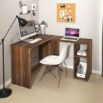 New Home Office L-Shaped Corner Computer Desk with 2-Layer Storage Shelf and Wooden Frame, for Game Room, Office, Study Room – Light Brown