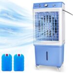 New DUOLANG Portable 3-in-1 Fan with Cooling, Humidification and Purification Functions 3 Wind Speeds Adjustable 12 Gallon Water Tank – Blue
