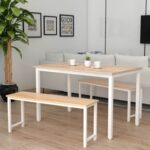 New 3 Piece Farmhouse Dining Set, Including 1 Table, and 2 Benches, for Small Apartment, Studio, Kitchen – Beige