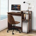 New Home Office Computer Desk with Storage Shelves and Wooden Frame, for Game Room, Office, Study Room – Brown