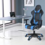 New Home Office PU Leather Adjustable Rotatable Massage Gaming Chair with Ergonomic High Backrest and Lumbar Support – Black + Blue