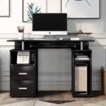 New Home Office Computer Desk with Pull-Out Keyboard Tray and Storage Drawers, for Game Room, Office, Study Room – Black