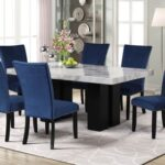 New 7 Piece Faux Marble Dining Table Set with 6 Velvet Chairs for Kitchen, Living Room, Bar, Restaurant – Blue