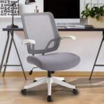New Home Office Mesh Adjustable Chair with Ergonomic Backrest and Casters – White