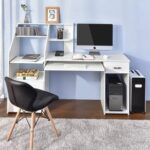 New Home Office Computer Desk with Storage Cabinet and Pull-Out Keyboard Tray, for Game Room, Office, Study Room – White