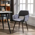 New HengMing Velvet Upholstered Dining Chair, with Curved Backrest, and Metal Legs, for Restaurant, Cafe, Tavern, Office, Living Room – Gray