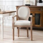 New HengMing Fabric Upholstered Dining Chair, with Curved Backrest, for Restaurant, Cafe, Tavern, Office, Living Room – Beige