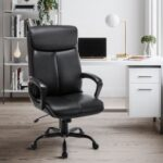 New Home Office Leather Adjustable Rotatable Gaming Chair with Ergonomic High Backrest and Rocking Function – Black