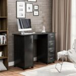 New Home Office Computer Desk with 4 Drawers and Storage Cabinet, for Game Room, Office, Study Room – Black