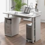 New Home Office Computer Desk with Keyboard Tray and Storage Drawers, for Game Room, Office, Study Room – White