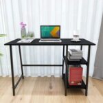 New Home Office Computer Desk with MDF Tabletop and Metal Frame, for Game Room, Office, Study Room – Black