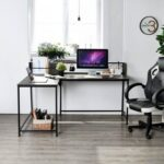 New Home Office L-Shaped Corner Computer Desk with Wooden Tabletop and Metal Frame, for Game Room, Office, Study Room – Black