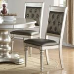 New Upholstered Dining Chair Set of 2, with Tufted Backrest, and Wooden Legs, for Restaurant, Cafe, Tavern, Office, Living Room – Silver