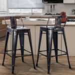 New TREXM 2 Piece Metal Bar Stool Set, with Low Back, for Small Apartment, Studio, Kitchen – Black