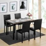 New Orisfur 5 Piece Dining Set, Including 1 Table, and 4 Leather Chairs, for Small Apartment, Studio, Kitchen – Brown