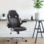 New Home Office Leather Adjustable Task Chair with Ergonomic High Backrest and Flip-up Armrests – Black
