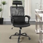 New Home Office Adjustable Task Chair with Ergonomic Mesh Backrest and Padding Armrests – Black