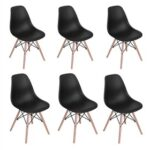 New Plastic Dining Chair Set of 6, with Curved Backrest, and Wood Legs, for Restaurant, Cafe, Tavern, Office, Living Room – Black