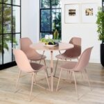 New Plastic Upholstered Dining Chair Set of 4, with Curved Backrest, and Metal Legs, for Restaurant, Cafe, Tavern, Office, Living Room – Pink