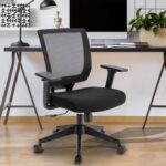 New Home Office Mesh Adjustable Rotatable Chair with Ergonomic Backrest and Lumbar Support – Black