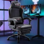 New Home Office PU Leather Adjustable Massage Gaming Chair with Ergonomic High Backrest, Footrest, and Lumbar Support – Gray
