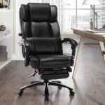 New Home Office PU Leather Adjustable Gaming Chair with Footrest, Ergonomic High Backrest and Lumbar Support – Black