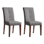 New Linen Upholstered Dining Chair Set of 2, with High Backrest, and Wood Legs, for Restaurant, Cafe, Tavern, Office, Living Room – Gray
