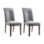 New Linen Upholstered Dining Chair Set of 2, with High Backrest, and Wooden Frame, for Restaurant, Cafe, Tavern, Office, Living Room – Light Gray
